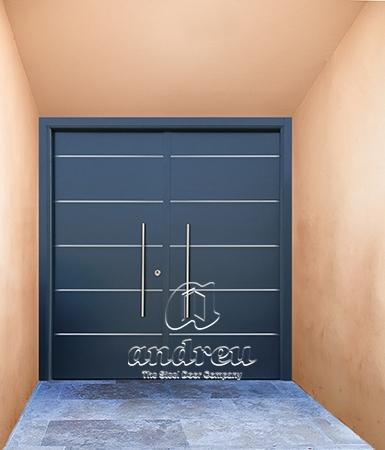 puerta metálica batiente residencial inserción inoxidable Andreu vivienda
