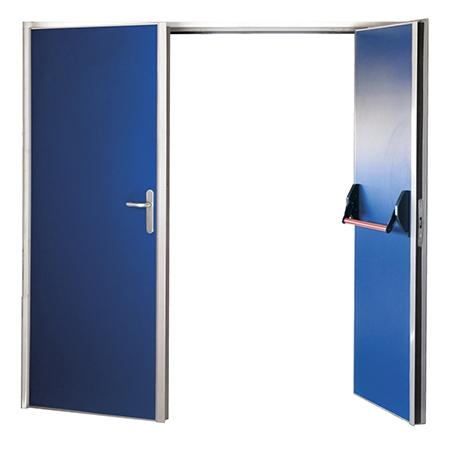 puerta metalica batiente bisagra cierrapuertas oculto cortafuegos sigma doble hoja andreu