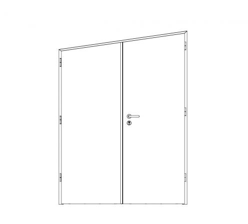 puerta metalica batiente inclinada doble hoja office andreu